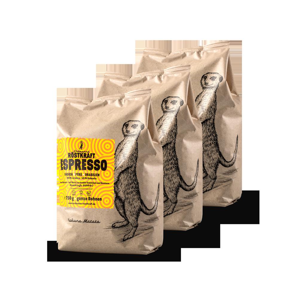 Erdmanns Röstkraft10 × Espresso750g ganze Bohnen