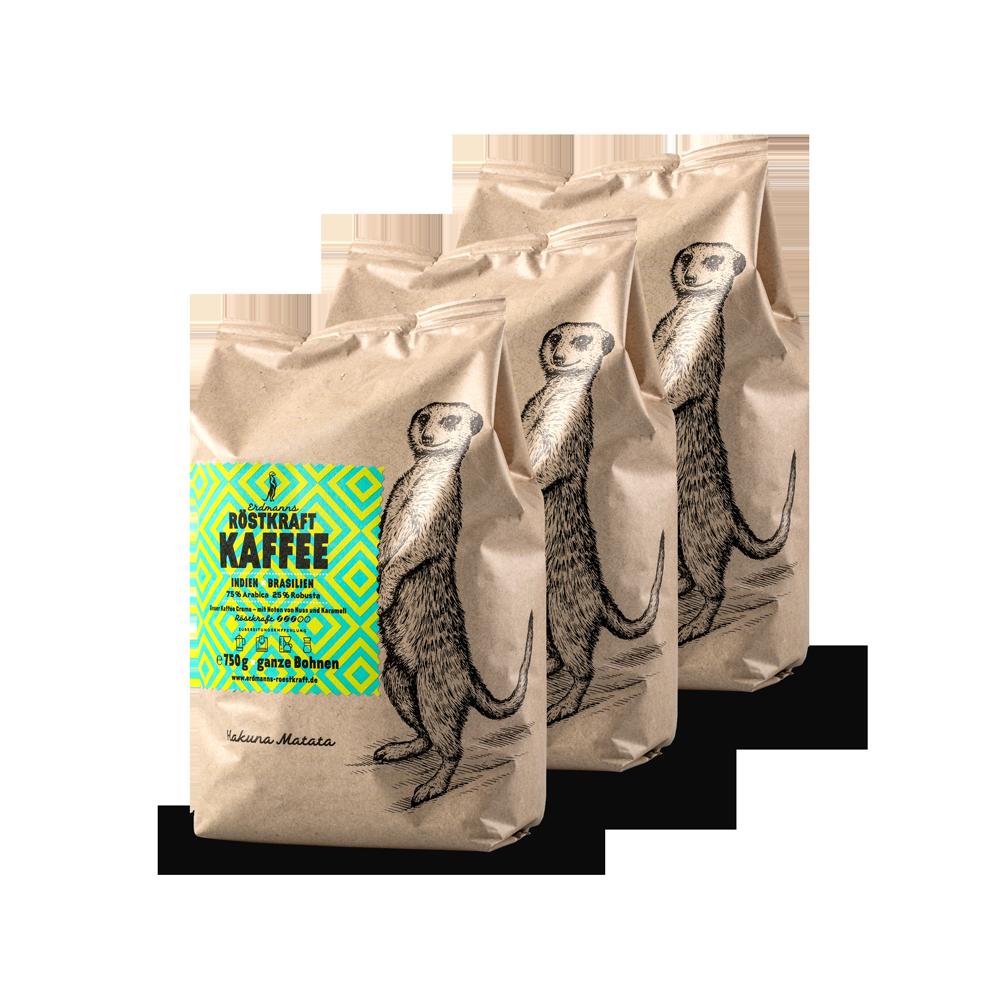 Erdmanns Röstkraft10 × Kaffee750g ganze Bohnen
